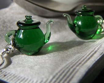 Light Green Tea Tiny Teapots - Glass Dangling Earrings SRA