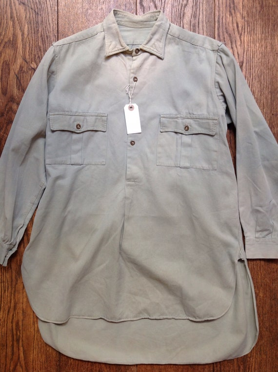 "Vintage 1940s 40s 1950s pale sage green French European cotton rayon plain popover smock work chore shirt workwear 44"" chest military"