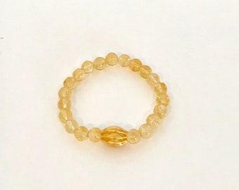 Citrine Stretch Bracelet with Gold Vermeil Bead
