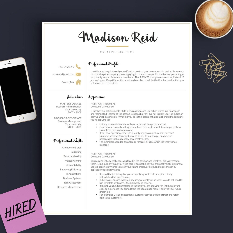 Plantilla de curriculum vitae moderno para Word y páginas 1