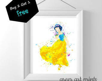 Snow White Art Print Poster, Disney Princess Wall Art Nursery, Printable Watercolor Instant Download, snow white party, snow white printable
