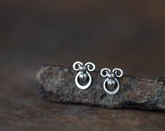 Tiny sterling silver stud earrings, Mini abstract earrings, Handcrafted artisan earrings, Cute unique stud earrings, Ladybug earrings