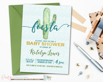 Fiesta Baby Shower Invitation, Baby Shower Invitation, Cactus Baby Shower Invitation, Fiesta Invitation, Cactus Invitation, Boy Baby Shower