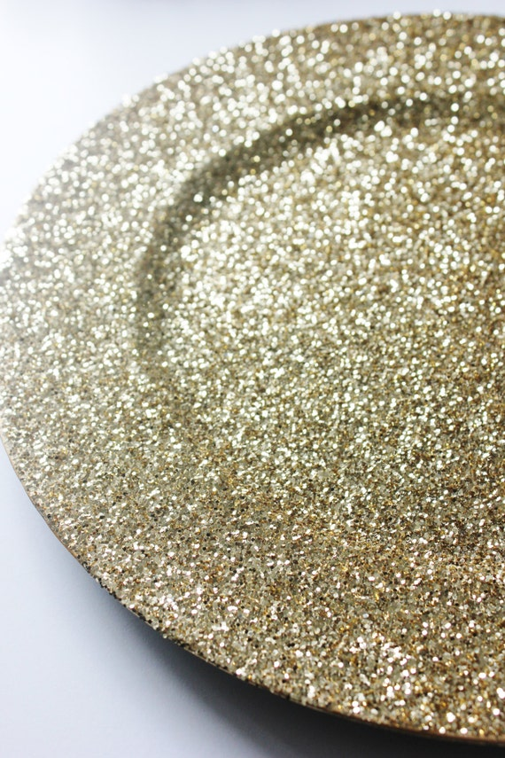 Set of 4 GOLD GLITTER CHARGER Plates Chargers Hand Glittered Tableware Plate Bride Groom Glittery Golden Gatsby Glam Wedding Sparkle Place & Set of 4 GOLD GLITTER CHARGER Plates Chargers Hand Glittered