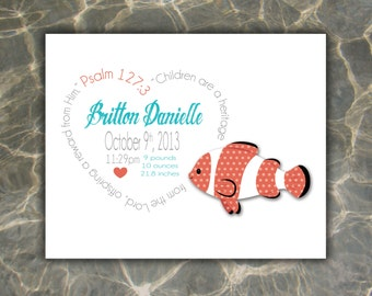 Clownfish, Beach, Personalized Birth Print, Baby Birth Print, Custom Birth Print, Birth Announcement Girl, Gift, Baby Gift