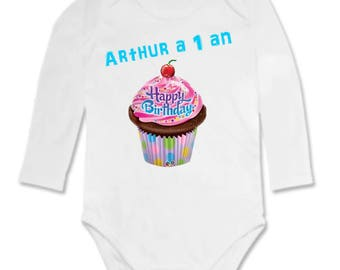 Choose age birthday cake Bodysuit personalized with name