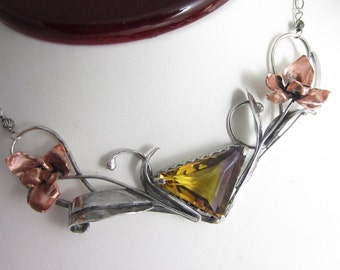 Plum and Orchids Necklace - Hand-sculpted copper orchids with fall-hued ametrine in sterling silver