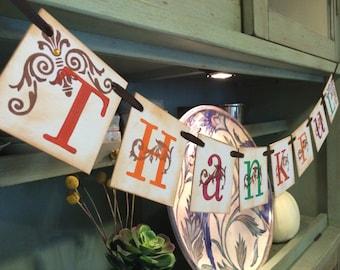 Thankful Banner, Fall Decor, Rustic Home Decor, Thanksgiving Decorations, Autumn Decor, Thanksgiving Decor