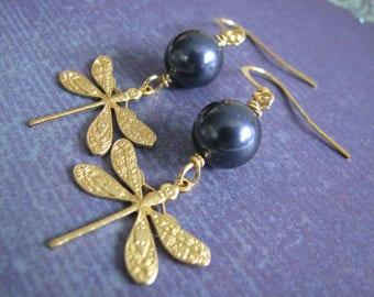 Blue Beaded earrings, metal earrings, filigree, dangle earrings, gold earrings, large earrings, drop earrings, long earrings, metal beads