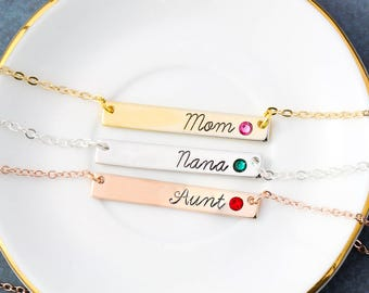Mom Necklace • Mommy Mother's Day Gift Mom Bar Necklace • Nana Mother's Day Aunt Gift Rose Gold Child Birthstone Bar Necklace • BS_18 QQQ