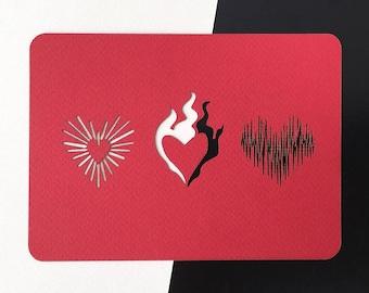3 Hearts Laser-cut Card