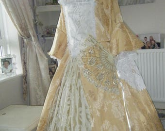 Elizabeth Swan Pirates of the Caribbean dress with petticoat and fan