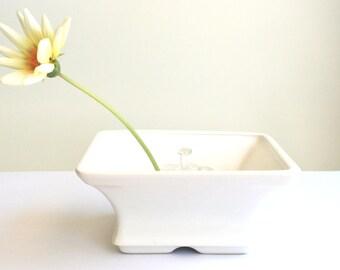 Ceramic vase and plastic flower fashioner inserts with suction cups - floral arrangement vase - vintage 1970s