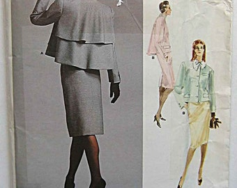 Bill Blass Misses' Flared Back Jacket and Skirt, Suit Vogue 1957 Sewing Pattern UNCUT Size 12