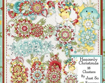 On Sale 50% Off Heavenly Christmas Digital Scrapbook, Clusters, Holiday, Winter