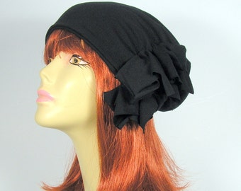 """Extra Slouchy 100% Black Cotton Slouch Hat""""BREATHES""""Elegant Lightweight Slouchy Beanie Chic All Cotton Hats for Hair Loss Chic Chemo Caps"""