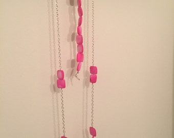 Pink Block Necklace and Bracelet