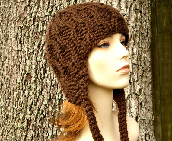 Brown Hat Brown Womens Hat - Amsterdam Beanie with Ear Flaps Chocolate Brown Knit Hat - Brown Ear Flap Hat Brown Beanie Womens Accessories
