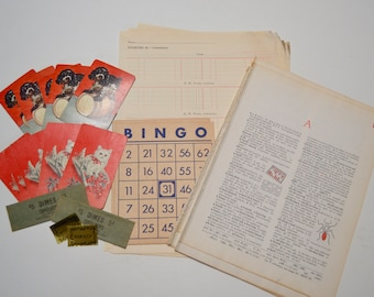 Ephemera Pack with Vintage Dictionary Pages, Notebook Pages, Playing Bingo Cards