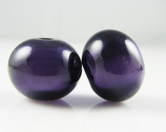 Dark Purple Lampwork Glass Hollow Bead Pairs