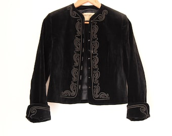Vintage Jaeger velvet jacket ethnic boho embroidered Festival duster Folk boho hippy jacket  s Uk 8 10 US 4 6