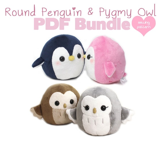 PDF sewing pattern bundle Owl and Penguin plush cute easy