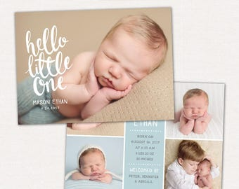 Birth Announcement Template Photo Collage -  Baby Card - CB088 - PSD Flat Card - Instant Download