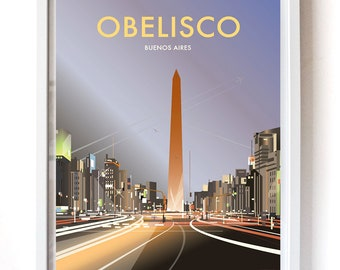Obelisco, Buenos Aires – Vintage Travel Poster