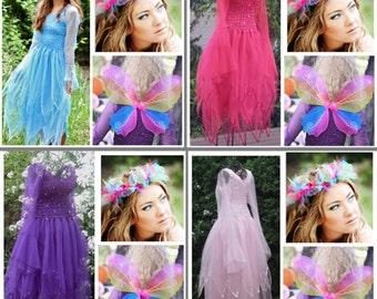 Adult Fairy Halloween Costume ~  Wings ~ Tulle Headpiece ~   Renaissance ~ Theatre ~ Fantasy Dress  ~  Masquerade ~ Fairytale Wedding