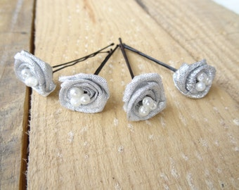 Silver Rose Wedding Hair Pins, Ivory Bridal Hair Pins, Hair Accessories, Bridesmaid Hair, Woodland - Set of 4