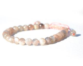 Moonstone Mala Bracelet, Feminine Energy Gemstone Yoga Bracelet