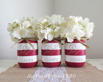 Rustic Red and White Striped Pint Size Mason Jars, Distressed and Adorned with Raffia Bow, Set of 3, Event, Wedding, Baby Shower, Home Decor