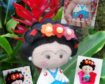 Felt Frida Inspired - PDF Pattern - Pocket Version!