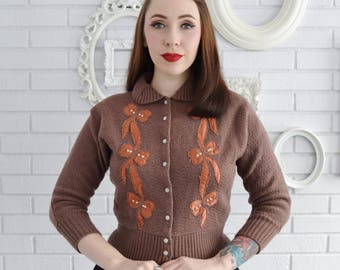 Vintage 1940s Wool Cardigan with Bow Appliques and Faux Pearls by London Combination Size XS or Small