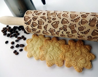 COFFEE STYLE Embossing Rolling pin. Laser cut rolling pin for embossed cookies with COFFEE beans. Moka. latte. Good morning coffee. Espresso