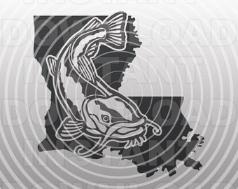 Louisiana Catfish Fishing SVG File,Channel Catfish SVG,Fisherman svg -Vector Ar Commercial & Personal Use- Silhouette,Cricut,Cameo,Vinyl
