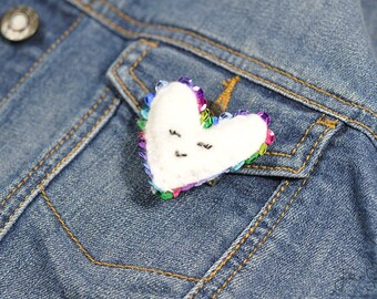 Small Plush Heart Embroider Bar Pin