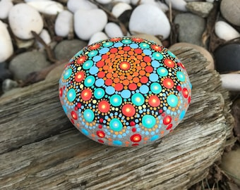 Vibrant Mandala Rock with Bonus Peace Rock
