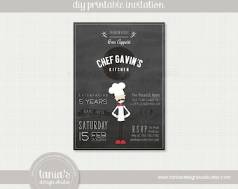 Little Chef Birthday Printable Birthday Invitation by tania's design studio