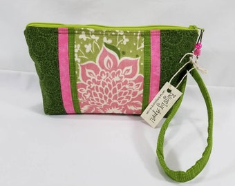 Pink Green Spring Summer Flowers Clutch with zipper wristlet bag small zippered cosmetic pouch purse