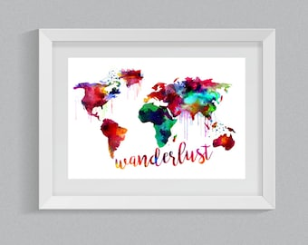 2 in 1 Wanderlust World Map Watercolor Art Print Set- INSTANT DOWNLOAD PRINTABLE - Travel - Traveler - Trending - includes 8x10 11x14 18x24
