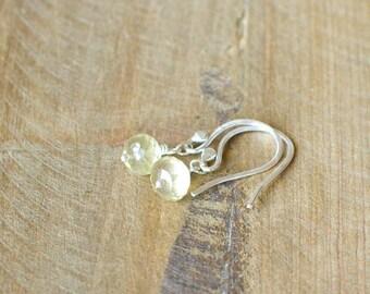 Handmade Lemon Quartz and Sterling Silver Earrings