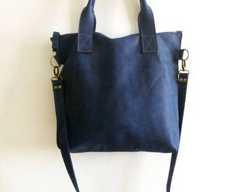 BLUE leather tote - Handbag - Cross-body bag - Every day bag - Women bag  - Shoulder leather bag