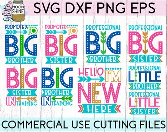 Sibling Announcement Bundle svg dxf eps png Files for Cutting Machines Cameo Cricut, New Baby Announcement, Cute Big Little Brother Sister