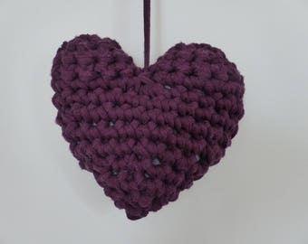 Gift, Decoration Heart , hand crafted, crocheted, yarn lilac