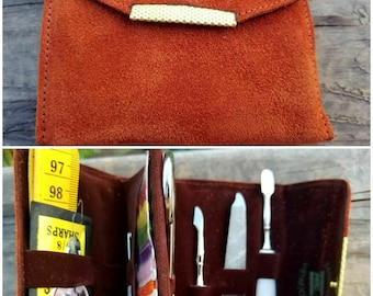 Vintage Manicure/Sewing Kit Burnt Sienna Suede Travel Case