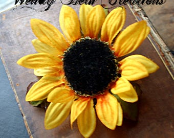 Yellow Sunflower Hair Clip Fascinator - Fall, Vegan, Tribal Fusion, Belly Dance, Hair Garden, Fairy, Pin-Up, Renaissance Festival, Cosplay
