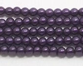 3mm Purple Glass Pearls - 1 strand