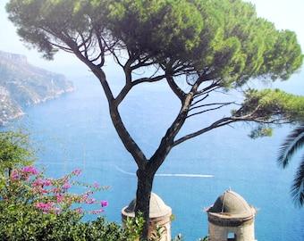 Ravello Italy, Italian coastal village, Italy home decor, fine art photography, Italian coastline, travel photography, blue water, romantic