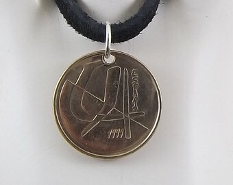Spanish Coin Necklace, 5 Pesetas, Coin Pendant, Leather Cord, Mens Necklace, Womens Necklace, Birth Year, 1991